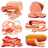 Meat meal. Meat and Sausages icon set - detailed vector illustration, elements separated and groupped Stock Image