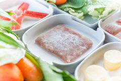 Meat meal, set of food suki is japanese food in restaurants, tha Stock Images