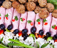 Meat and meatball catering detail Royalty Free Stock Images