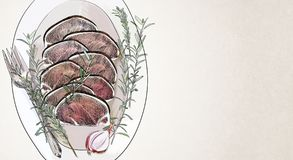 Meat medallion sketch. Creative meat medallion sketch. Food, menu, art concept Royalty Free Stock Photo