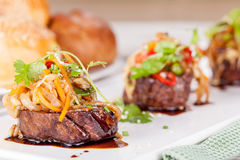 Meat medallions with vegetables Royalty Free Stock Photography
