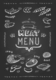 Meat menu. beef, pork, chicken, lamb symbols, . Vector Illustration Stock Image