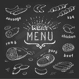 Meat menu on chalkboard.. Set of meat symbols, beef, pork, chicken, lamb. Retro Vector Illustration Royalty Free Stock Photography