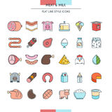 Meat and milk icons Royalty Free Stock Images