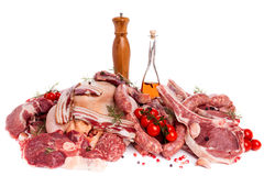 Meat Mix. Raw meat mix of steaks, poultry,sausages, ham, chopped and minced Royalty Free Stock Image