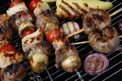 Meat mix with vegetable on grill Royalty Free Stock Image