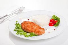 Meat with mixed leaf salad an rice on white Royalty Free Stock Images