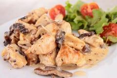 Meat with mushroom sauce Stock Photos