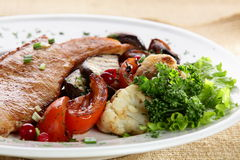 Meat with mushrooms Stock Photography