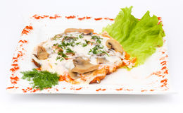 Meat with mushrooms and sour cream Stock Images