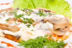 Meat with mushrooms and sour cream Royalty Free Stock Photos