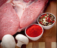 meat with mushrooms and spices Royalty Free Stock Images