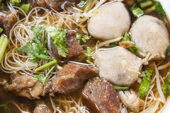 Meat Noodle. Beef and meat ball with noodle. Royalty Free Stock Images