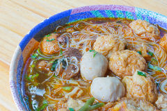 Meat Noodle in a bowl Stock Photo