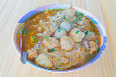 Meat Noodle in a bowl Royalty Free Stock Photo