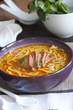 Meat and noodle soup Stock Photos