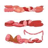 Meat och korvar Illustration för vektor för marknad för nytt kött för tecknad film vektor illustrationer