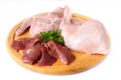 Meat and offal of raw rabbit isolated. On a white background Stock Images