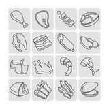 Meat outline linear icons vector set Stock Photography