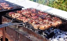 Meat på grilla Arkivfoton