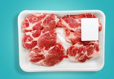 Meat. Packaging Tray Package Label Beef Polystyrene Stock Photos
