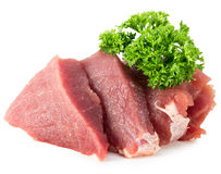 Meat with parsley isolated on a white background Royalty Free Stock Image