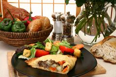 Meat Pastry and Salad Royalty Free Stock Image