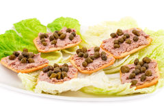 Meat pate with capers on crackers Stock Photos