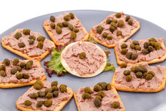 Meat pate with capers on crackers Royalty Free Stock Photo