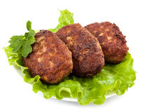 Meat patties with fresh lettuce. Royalty Free Stock Image