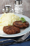 Meat patties with potato Stock Images