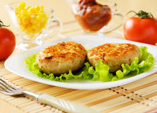 Meat patties on a white plate. Stock Image