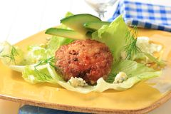 Meat patty on lettuce leaves Royalty Free Stock Image