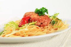 Meat patty with spaghetti Royalty Free Stock Image