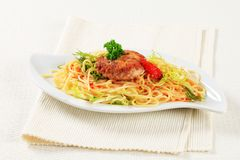 Meat patty with spaghetti Royalty Free Stock Photography
