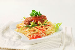 Meat patty with spaghetti Stock Photo