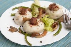 Meat pelmeni with fungi Stock Photography