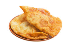 Meat pie. Batch for breakfasts - fried meat two pie, isolated over white background Royalty Free Stock Image