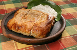 Meat pie. On clay plate with cheese Stock Images