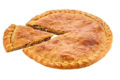 A meat pie with a golden egg washed crust. Studio isolated Royalty Free Stock Photo