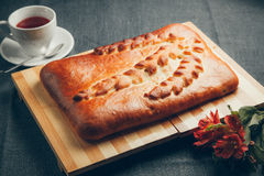 Meat Pie. Gourmet beef pie, with salad and tomato sauce Royalty Free Stock Images