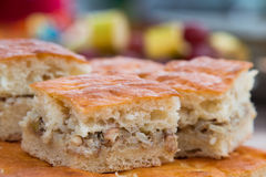 Meat pie. Pie dough. The filling is rice and meat. Side view. Royalty Free Stock Photos