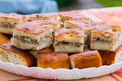 Meat pie. Pie dough. Pieces of pie with meat and rice on a white plate. Side view. Stock Image