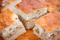 Meat pie. Pie dough. Pieces of pie with meat and rice on a white plate. Side view. Stock Photography