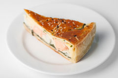 Meat pie. Piece of meat pie on white plate Royalty Free Stock Photography