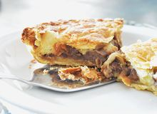 Meat pie on plate Royalty Free Stock Image