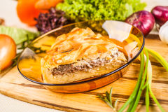 Meat pie with potato. In a glass bowl Stock Photography