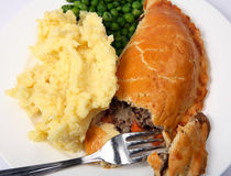 Meat pie and potatoes Stock Image