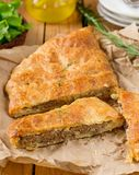 Meat pie with puff pastry, minced beef and potatoes stock photography