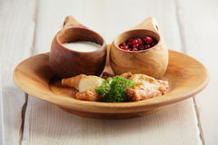 Meat pie with sour cream and cranberries Stock Images